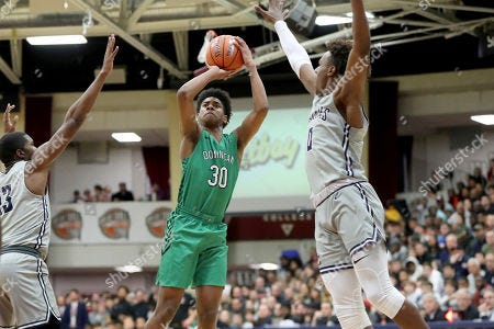 Minnesota Crookston signee Ron Kirk Jr. in action for Dominican H.S. against Sierra Canyon H.S. on Jan. 18, 2020 in Springfield, Mass.