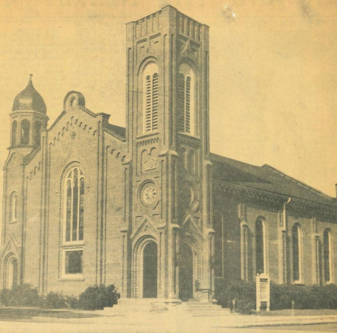 The First United Brethren (UB) Church at the corner of Church and State streets in Adrian is pictured. The church was built in 1856 as the home of the Plymouth Congregational Church until its dissolution in 1878. The First UB Church leased the building in 1879 and purchased it from the Plymouth Congregational Society in 1880.