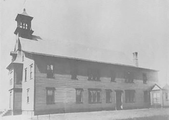 The original Holy Rosary School in Gardner in the early 1900s.