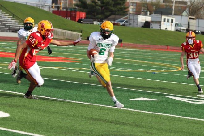 Geneseo's Nash Clementz, No. 6, in the Geneseo freshman-sophomore football game when Geneseo shut out the Rock Island Rocks, 20-0.
