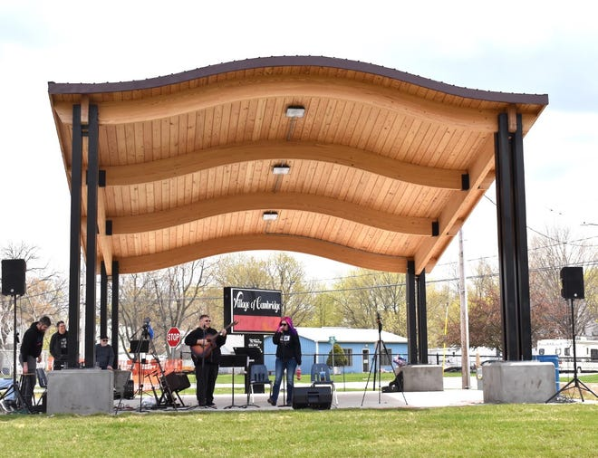 Cambridge's new bandshell in College Square Park hosts a performance for the first time on Saturday afternoon, April 17. The first performers are singer Michelle VanOpDorp, right, a former Cambridge student, and her guitarist, Aaron Duke. VanOpDorp said she wanted to bring her full band, Past Curfew — The 80's Experience, to the band shell for a two-hour concert.