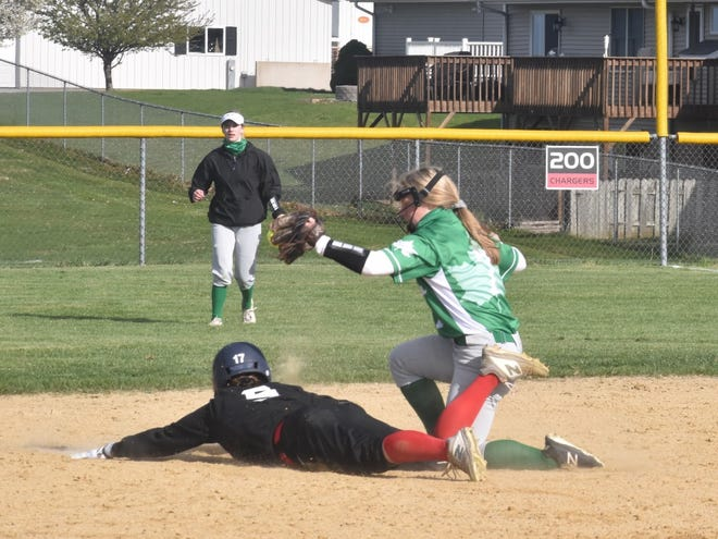 Geneseo's Natalie Baumgardner tags Orion's Nickie Kettler at second base in the varsity game on Thursday, April 15, at Charger Field.