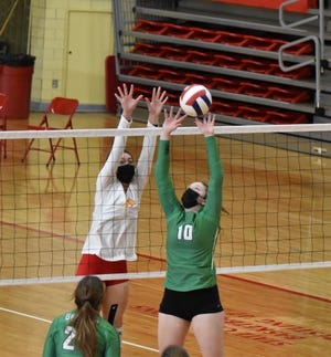 Addie Dunker had 7 assists in Geneseo's recent volleyball game against Rock Island when the Leafs added another win to their scorebook.