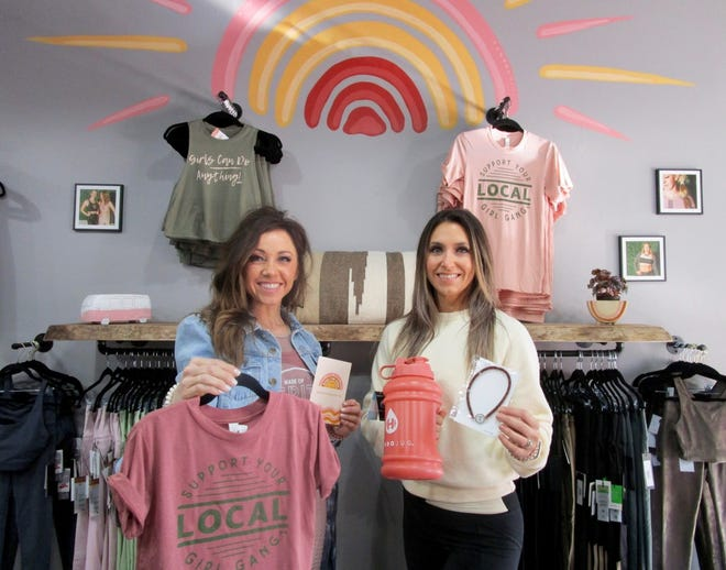 Tricia Hull, left, and Kristen Granell, are the owners/operators of Made for More Fitness Apparel and Wellness Boutique in downtown Geneseo.