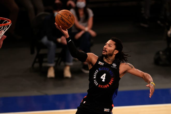 New York Knicks guard Derrick Rose drives to the basket during the second half of a game against the New Orleans Pelicans on Sunday, April 18, 2021, in New York.