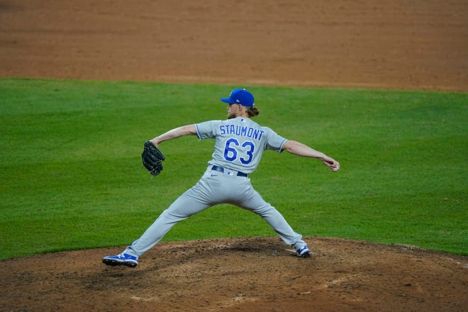 Kansas City Royals relief pitcher Josh Staumont throws against the Chicago White Sox earlier this season. [AP Photo/Nam Y. Huh]