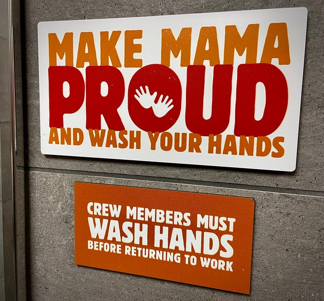 This friendly reminder for personal hygiene can be found in the bathrooms of the newly renovated Burger King on Canning Boulevard in Fall River.
