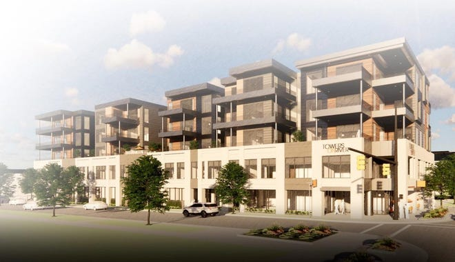 A rendering of the Towers on River project in downtown Holland, which is currently underway. When complete, the five-story retail and condominium project will feature 27 units and parking space.