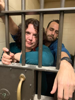 Candice Cain and Nelson Smith from Gemelli Films were locked — temporarily — into one of the two jail cells at The Confectionery bakery, which used to be the Morton police station.