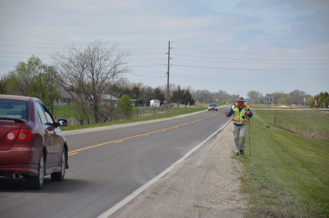 Glenn Koster, South Hutchinson, launched an effort to walk into or through every county in Kansas during the next 18 months with a walk from McPherson to Newton April 19. His goal is to call attention to the need of foster care and adoptive families in Kansas.
