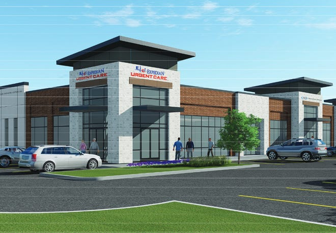 An artist's rendering showing elevations of a proposed medical office building on FM 663. A divided Midlothian City Council approved a variance allowing for parking in excess of city ordinances during its April 13 meeting.