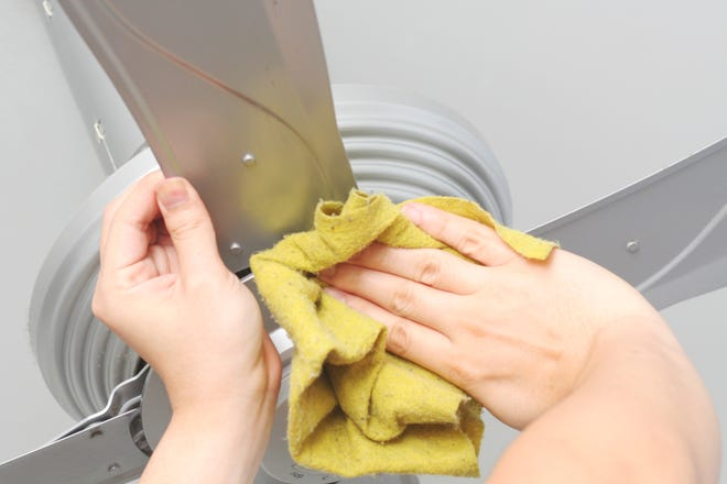Clean a ceiling fan with a damp cloth.