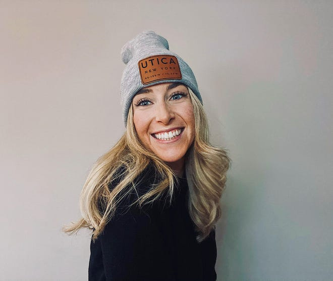 Uticrews Apparel Company founder Morgan Mielnicki rocks one a knit hat from her company's Utica line of products.