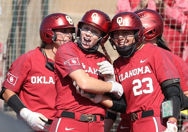 The Sooners celebrated often in their three-game sweep of Texas, with all wins coming via run rule.