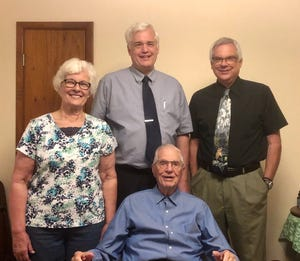 World War II veteran Arthur Jehle celebrated his 98th birthday last week. His three children visited. Left to right:  Daughter Jinnie DeHaan and sons Paul and Dave.