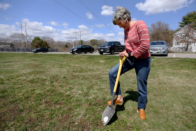 Portsmouth resident Tricia Donohue has begun working with city officials in hopes of creating a 10,000-square-foot community garden on land at the Route 33 Park and Ride, seen here Monday, April 19, 2021.
