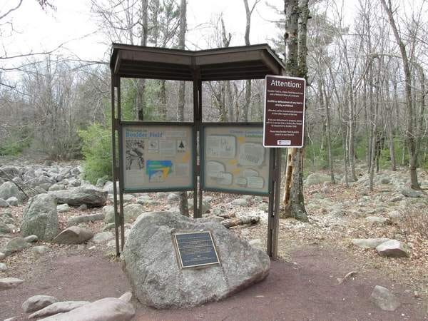 A map outlining the expanse of Boulder Field at Hickory Run State Park in 2015.
