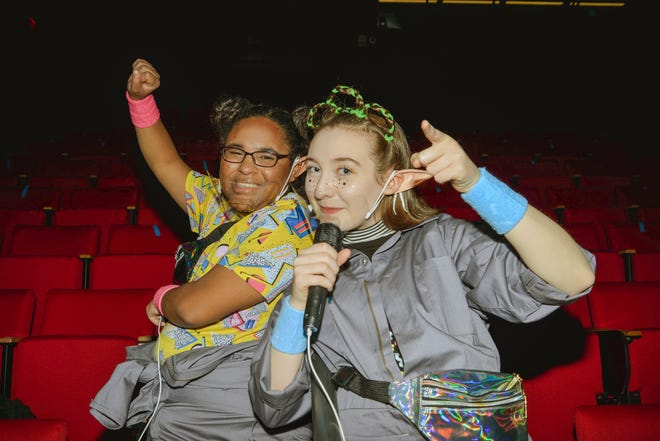 """Tessa Seals and Jolie Lanning-Werkheiser play the lead roles of Floopa and Caaade, trusted alien tour guides, in the Lehigh Valley Charter High School for the Arts' original spring musical, """"Earthland""""."""