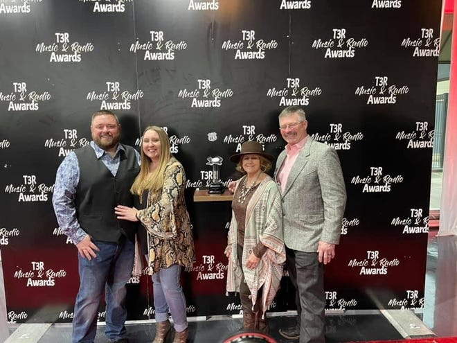 L-R: Jeff Smith, Jessica Smith, Jacklyn Cason, Landy Cason. Both Smith and Landy Cason were invited to the Texas Regional Radio Music Awards in March. They hosted artists and industry executives on the red carpet, as well as handing out an award on stage. This is the 3rd year the duo have been invited to the awards show.