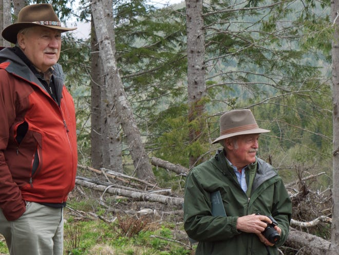Jerry Franklin, left, and Norm Johnson visit the north coast of Oregon while advising Ecotrust, a Portland-based conservation group, on forest restoration.