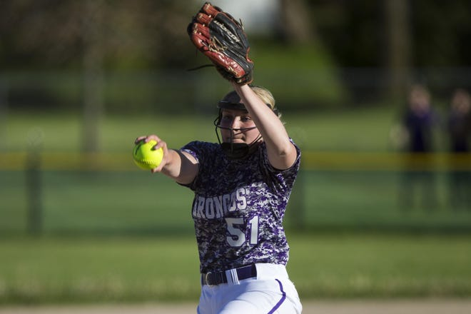 Senior pitcher Tori Plowman, shown pitching in the Class 1A sectional championship in May 2019, is expected to help Orangeville compete for another NUIC title this season.