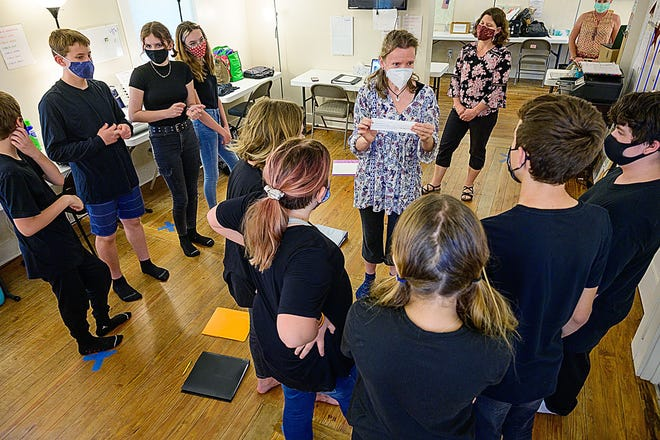 Cristina Pope, principal of the Pioneer School on Masters Drive in St. Augustine, teaches a drama class at the school on Thursday.