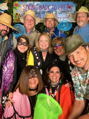 """This group from TexasBank took time to have some fun a the photo booth at the Stephenville Chamber of Commerce banquet held on Friday. The theme of the banquet was """"Spring Back to Life."""" The photo booth was courtesy of B&A MediaTech. More photos can be seen at bit.ly/2021SpringBackPhotoBooth"""