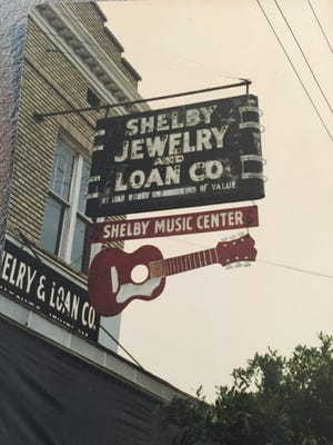 An early sign for Shelby Jewelry and Loan, which eventually became Shelby Music Center.