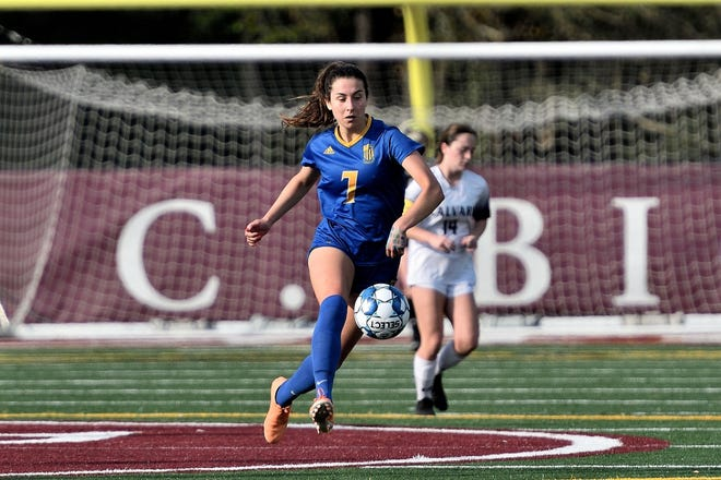 Isabella Hogan of St. Vincent's in action against Calvary Day earlier this season.