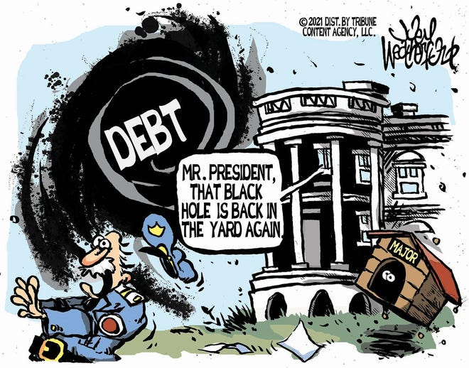 Weatherford cartoon: Black hole return. Joey Weatherford cartoon on President Joe Biden and debt.
