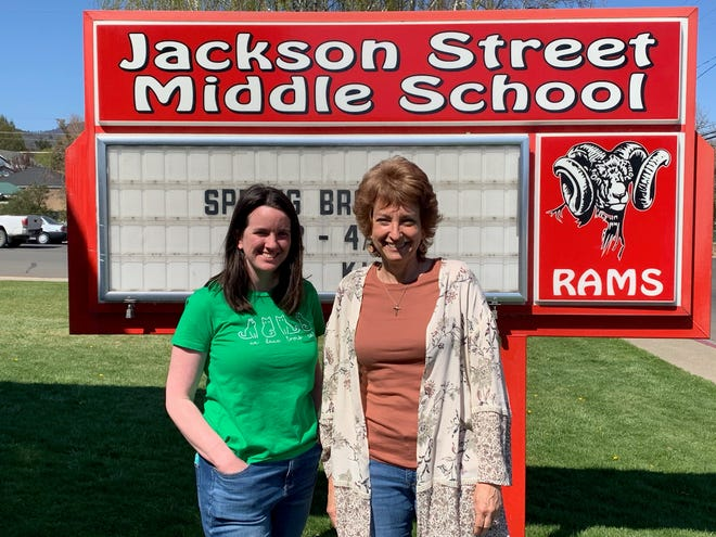 Ameila Courtois, left, was named newcomer of the year, while Karen Clark, right was named teacher o f the year for the Yreka Union Elementary School District. Both are teachers at Jackson Street Middle School.