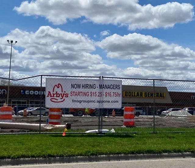 The new Kewanee Arby's restaurant has now hired its management, advertised here this spring at the Midland Plaza work site, and will soon move to hire 40-45 more employees. The restaurant's July opening plans have been moved to September.
