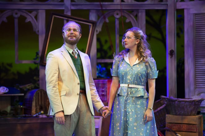 "Davis Wood and Meghan McDonald star in the UNCW Department of Theatre's production of ""Talley's Folly"" by Lanford Wilson."