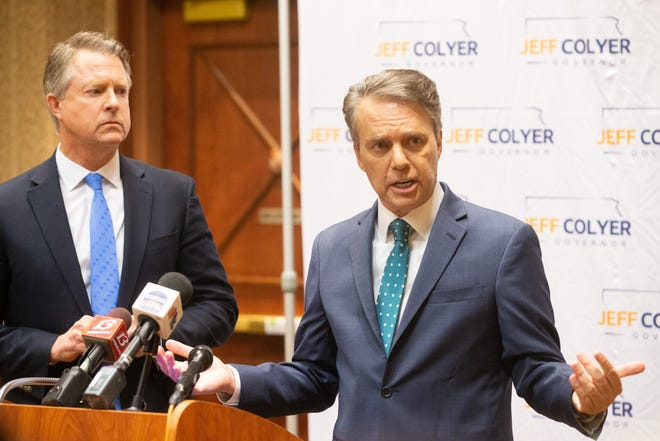 Former Gov. Jeff Colyer, right, answers questions with U.S. Sen. Roger Marshall on Monday at the Capitol Plaza Hotel, 1717 S.W. Topeka Blvd.