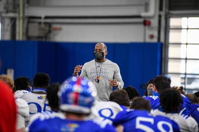 Emmett Jones will be a candidate to fill the Kansas football head coaching vacancy, athletic director Travis Goff announced last Thursday. Jones has served as interim head coach since March 11.