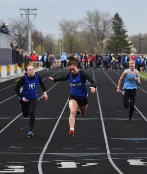 Avery Fricke placed first in the 100-meter dash to help Collins-Maxwell win the girls' team championship at the Dave Robinson Relays in Nevada Friday.