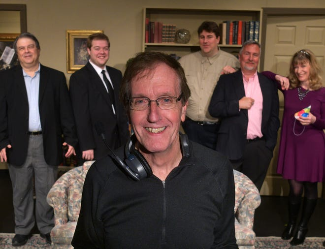 Dave Ludt, artistic director of Calliope Productions of Boylston, is pictured with some cast members during a rehearsal in 2019. Calliope will return to live performances in July with its Summer Youth Theatre Programs.
