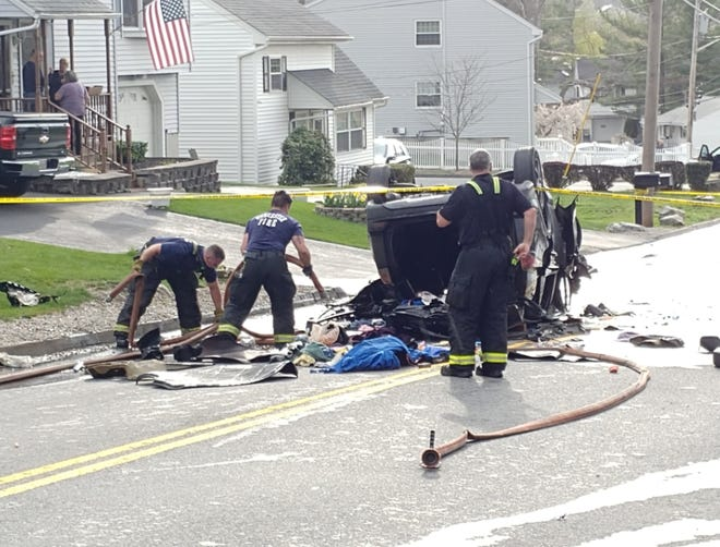 The April 19 crash scene on Sunderland Road in Worcester.
