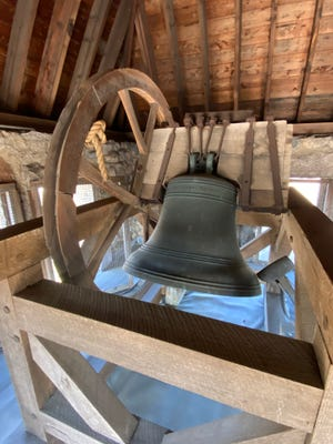 """The Paul Revere bell, located in the First Parish Church tower, is marked """"Revere and Sons Boston 1801."""""""