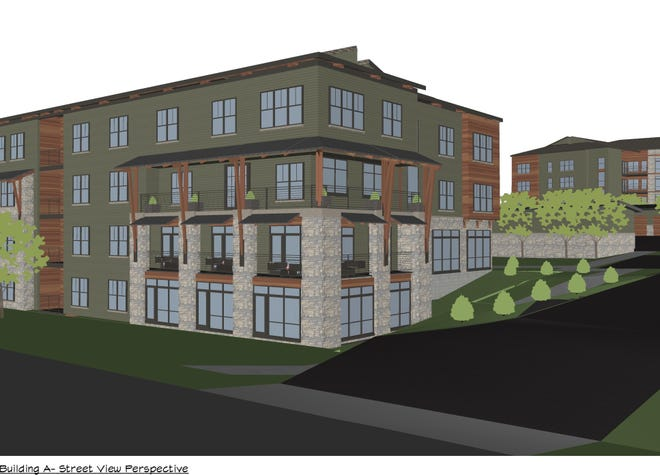 Conceptual plans on file with Asheville show a rendering of one of two planned buildings at 66 Long Shoals Dr. near TC Roberson High School.