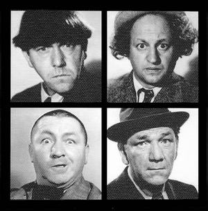 Moe, Larry, Curly and Shemp of the Three Stooges.