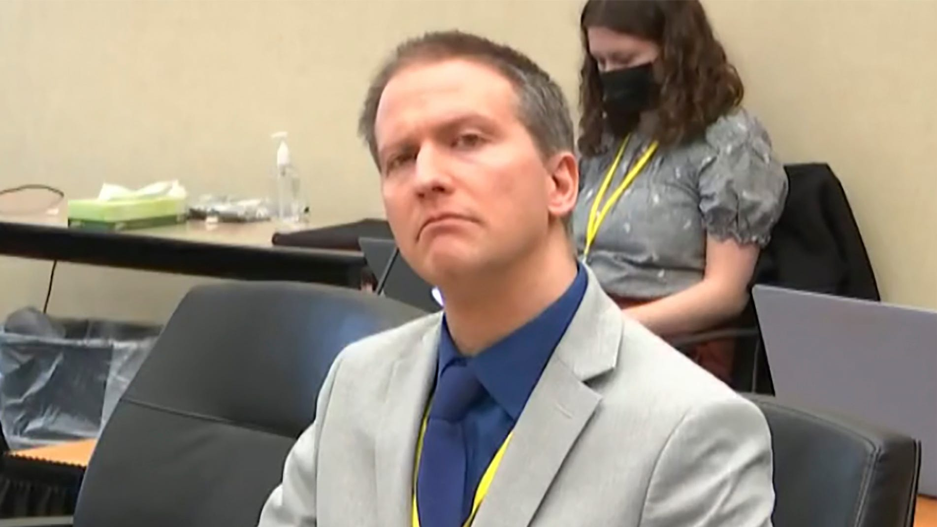 In this image from video, former Minneapolis police Officer Derek Chauvin listens as his defense attorney Eric Nelson gives closing arguments.