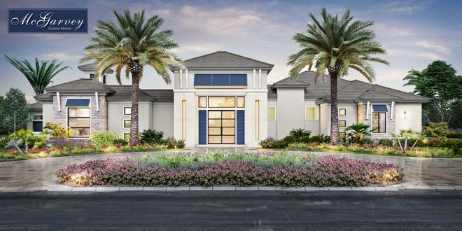 Oasis model home features two guest suites wrapping a courtyard pool and furnished by Clive Daniel is sure to impress the most discerning tastes.