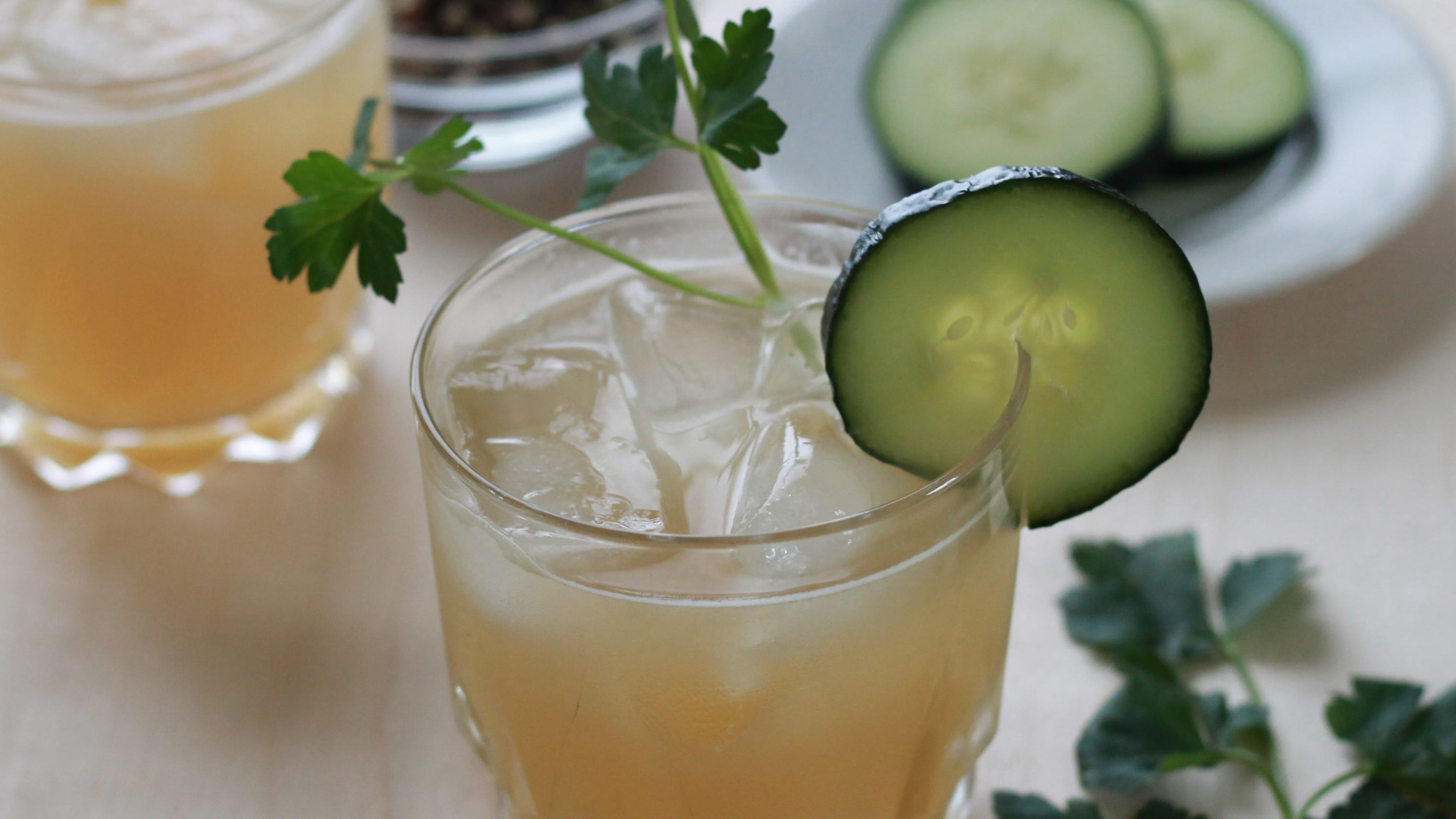 This gin cocktail made with black pepper and cilantro syrup is a perfect spring sipper