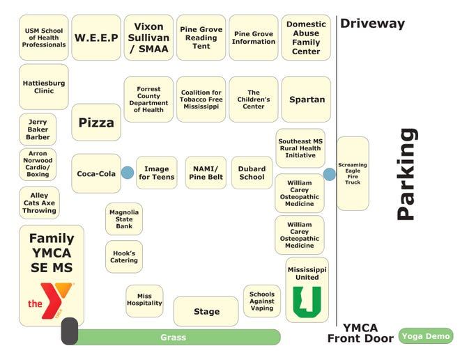 National Healthy Kids Day will take place at11 a.m.-1 p.m.on April 24, 2021 at the YMCA at 3719 Veterans Memorial Drive in Hattiesburg. All activities will be set up tailgate-style in the parking lot. A map shows where each vendor will be set up.
