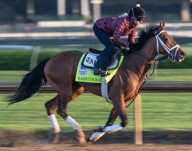 Kentucky Derby hopeful Sainthood, trained by Todd Pletcher, gallops in the morning at Churchill Downs. April 19, 2021.
