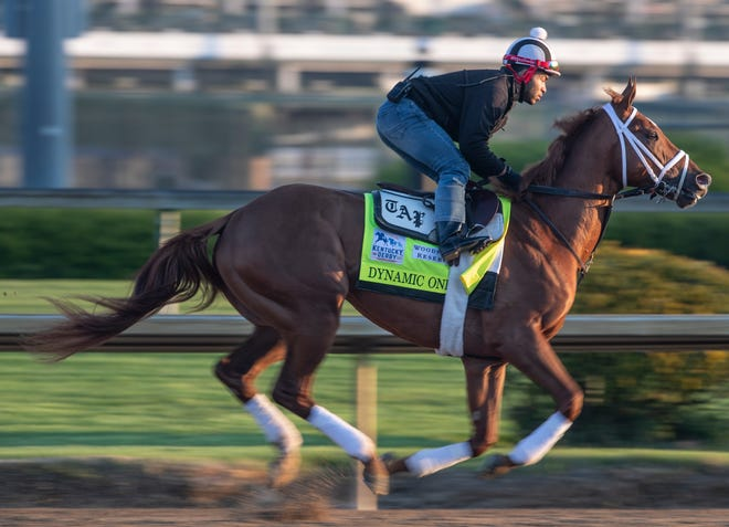 Kentucky Derby hopeful Dynamic One, trained by Todd Pletcher, gallops in the morning at Churchill Downs. April 19, 2021.