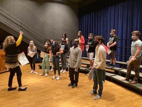 Cedarburg High School choir students at a socially distanced rehearsal.