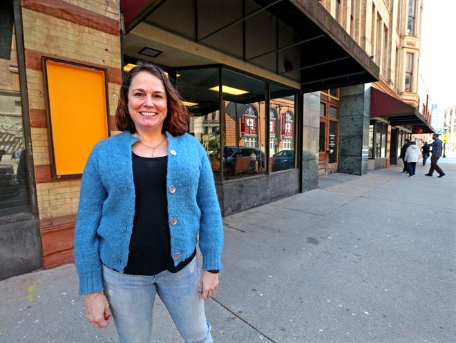 Sun Studios founder Amber Regan is shown in early April at the studios' new home, the former Off The Wall Theatre space at 127 E. Wells St. in Milwaukee.