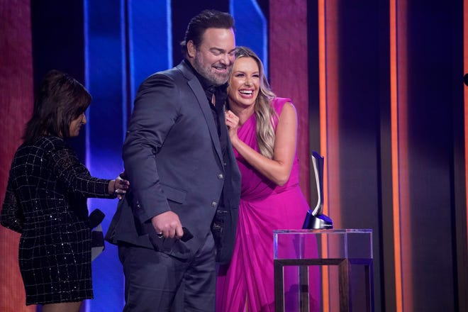 Carly Pearce and Lee Brice accept their award for Single of the Year during the 56th ACM awards in Nashville on Sunday, April 18, 2021.